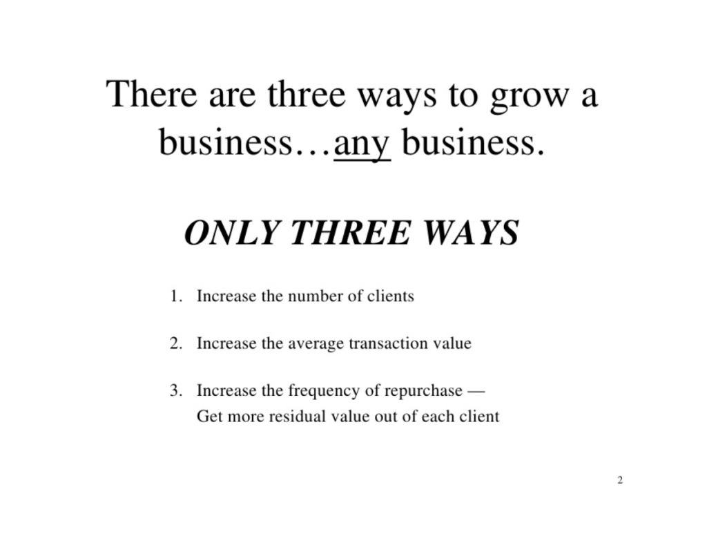 only three ways to grow